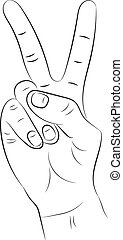 Hand with two fingers raised up on a white background.