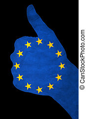 hand with UE flag