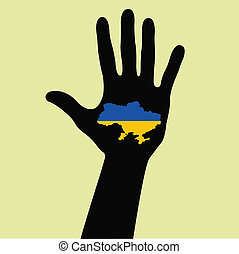 hand with Ukraine map with the flag