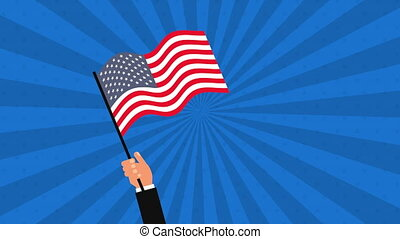hand with united states of america flag animation