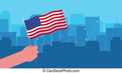 hand with united states of america flag in cityscape
