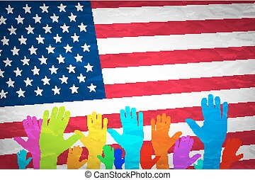 hand with USA flag. Grunge USA Flag. american, america, symbol, national, background,
