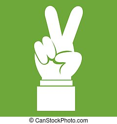 Hand with victory sign icon green