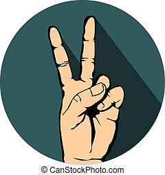 hand with victory sign icon