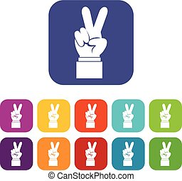 Hand with victory sign icons set