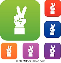 Hand with victory sign set collection