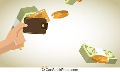 Hand with wallet HD animation - Hand with wallet over wads...