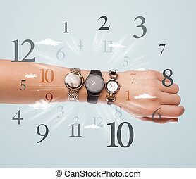 Hand with watch and numbers on the side comming out - Hand...