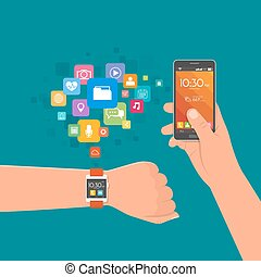 Hand with watch and smartphone. Vector illustration in flat style. Design elements, app icons