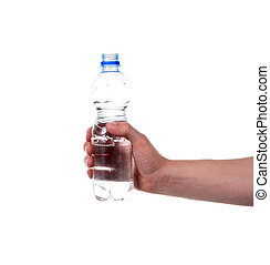 Hand with water bottle isolated on white background