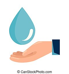 hand with water drop