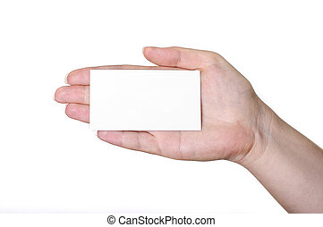 Hand with white card
