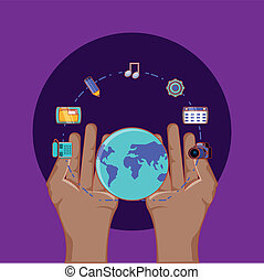 hand with world around social media connected