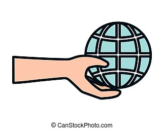 hand with world helping charity and donation