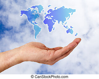 hand with world map