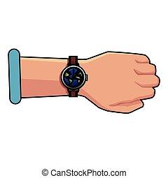 Hand with world wristwatch