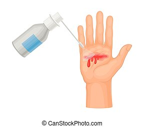Hand with Wound Streaming Blood Cleaning with Pharmaceutical...