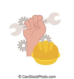 hand with wrench tool isolated icon