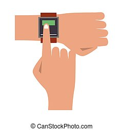 Hand with wristwatch cartoon isolated