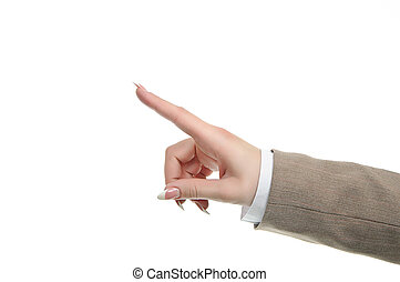 hand withfinger touching pushing button