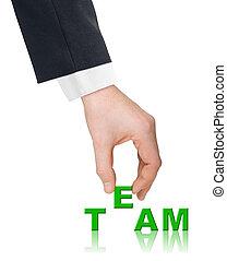 hand, woord, team