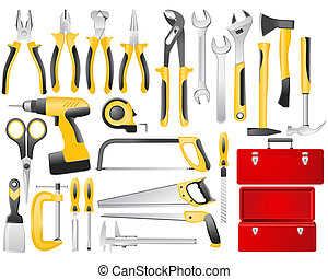 Full-color hand work tools and toolbox icon set