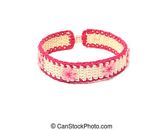 Hand worked crocheted collar with pink blooms of felt