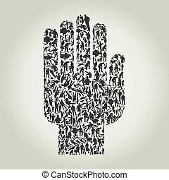 Hand workers - Hand made of people of workers. A vector ...