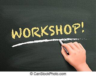 hand, workshop, woord, geschreven