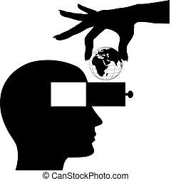 Hand world into male head open mind drawer - Hand puts globe...