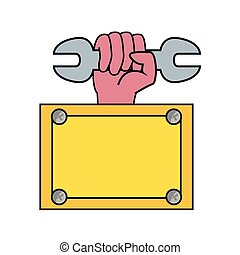 hand wrench construction board tool vector illustration ...