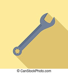 Hand wrench icon, flat style - Hand wrench icon. Flat ...