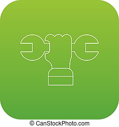 Hand wrench icon green vector isolated on white background