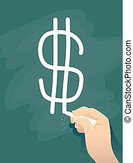 Hand Write Dollar Sign Illustration