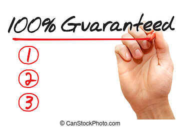 Hand writing 100 Percent Guaranteed List, business concept