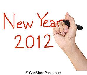 Hand writing 2012 Happy New Year