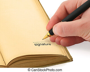 hand writing a signature