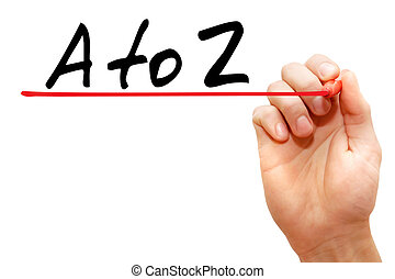 Hand writing A to Z with marker, business concept