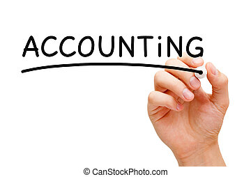 Hand writing Accounting Concept with black marker on transparent wipe board.