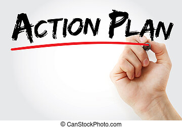 Hand writing Action Plan with marker