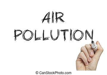 Hand writing air pollution