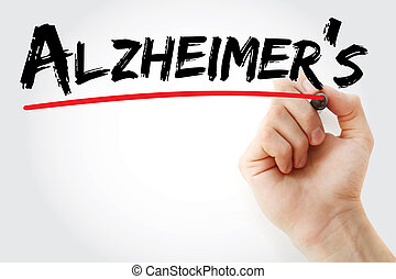 Hand writing Alzheimer's with marker, concept background