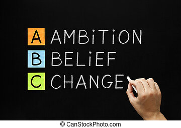 Hand writing Ambition Belief Change with white chalk on blackboard.