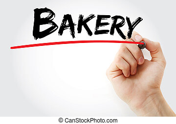 Hand writing Bakery with marker