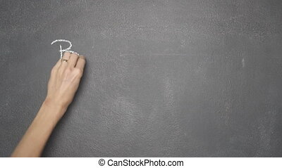 "Hand writing ""BANK"" and ""BITCOIN"" on black chalkboard -..."