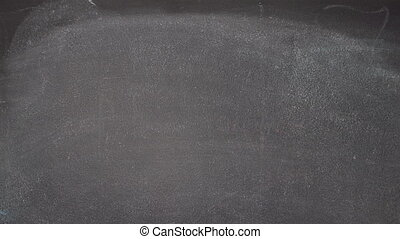 "Hand writing ""BE HAPPY"" on black chalkboard - Woman's hand..."