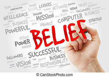 Hand writing BELIEF with marker