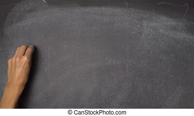 "Hand writing ""BRAIN"" on black chalkboard - Woman's hand..."