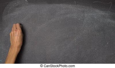 """Hand writing """"BREAK"""" on black chalkboard - Woman's hand..."""