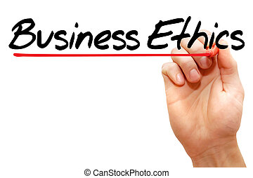 Hand writing Business Ethics with marker, business concept